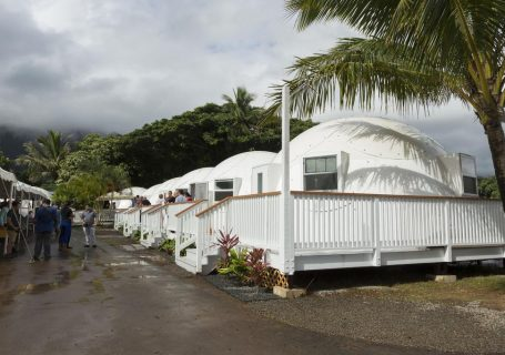 Hawaii's first dome homeless shelters open at First Assembly of God